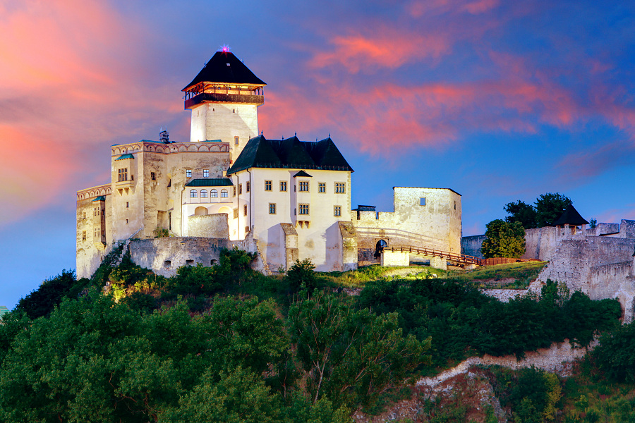 Slovakia Castle - Trencin at sunrise